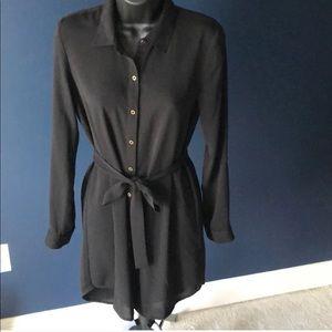 Black Tie Waist Shirt Dress